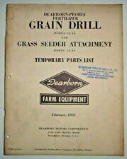 Ford 12-42 Grain Drill & Seeder Attachment Parts Catalog Manual Book Original