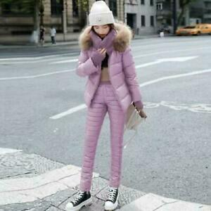 Winter Womens Suit Down Cotton Hooded Jacket Thicken Pants Ski Outdoor Warm 2PCS