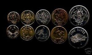 SEYCHELLES 1 5 10 25 C 1 Rupee x 10 Sets Lot KM46 47 48 49 50 BIRD FISH UNC COIN