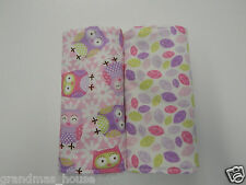 Burp Cloths Owls Purple Pink - 2 Pack Towelling Back GREAT GIFT IDEA!!