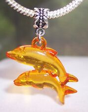 Large Dolphins Orange Lucite Beach Sea Life Dangle Bead for Euro Charm Bracelet