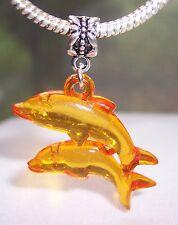 Large Dolphins Orange Lucite Beach Sea Life Dangle Bead for Euro Charm Bracelet
