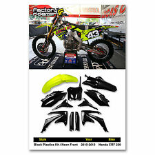 2010-2013 Honda CRF 250 Black Plastics Kit / Neon Front Fender From Enjoy Mfg