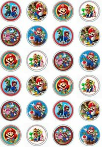 24 x Edible Cupcake Toppers - Rice / Wafer Paper - Perfect for Super Mario Fans