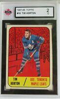Tim Horton Topps #16 Toronto Maple Leafs 1967-68 HOF  Ksa 2 G