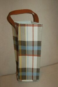 NWT Target Threshold Plaid Canvas Wine Bag Faux Leather Handle Brown White Blue
