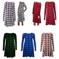 WOMENS TARTAN PLAIN LADIES LONG SLEEVE STRETCH SWING DRESS TUNIC PARTY TOP 8-26