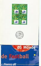 FRANCE 98, DOCUMENT FOOTBALL 1° JOUR , COUPE DU MONDE, EMBLEME, timbre 2985