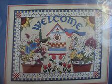 Sunset Springtime Welcome Birdhouse Flowers Crewel Embroidery Kit Rare! 1994