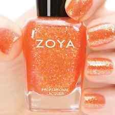 ZOYA ZP740 JESY coral orange w/ gold holographic jelly nail polish ~ BUBBLY *New