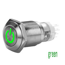 Green 16mm 12V Car LED Power Push Button Metal ON/OFF Switch Latching Aluminum