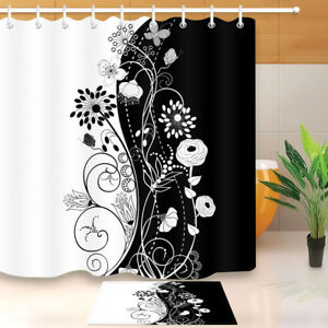 Black & White Flowers Shower Curtain Set Bathroom Waterproof Fabric Mat Hooks