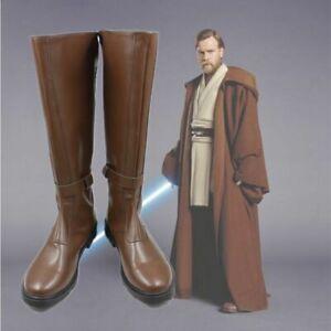 Star Wars Obi-Wan Kenobi Jedi Master Brown Long Cosplay Shoes Boots