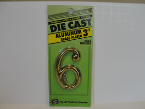 """HY-KO 3"""" Brass Plated Aluminum House Number """"6"""", DCG-3/6"""