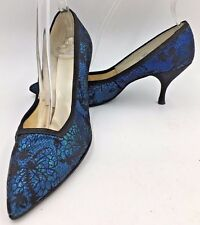 Vintage 1960s Blue and Black Metallic Smartaire Flared Lacy size 6.5Aaa Heels O4