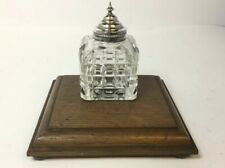 ANTIQUE SILVER LIDDED CUT GLASS INK WELL ON OAK WOOD STAND c1900, STANDISH