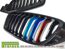Fit 2014+ BMW F32 428i 435i Coupe Front Jet Black Grille w/// M Tri METAL Paint