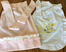 Lot of 2 Vintage 1/2 Aprons with Ruffles~White~Yellow Flowers & Pink