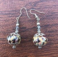 "Vintage Sterling Silver 925 Dangle Drop Floral Glass Bead Earrings 1.5"""
