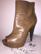 Sergio Rossi Brown Platform Open Toe High Heel Ankle Boot Size 39 1/2 US 9
