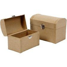 PM351 2 TREASURE CHESTS BOX papier paper mache decopage novelty pirate gift box