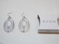 Ladies Womens Avon Textured Teardrop Earrings Silvertone F3877961 NIP;;