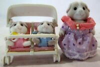 Calico Critters Sylvanian Families Guinea Pig Family Mom,Babies, Stroller AS-IS