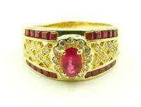 14K Yellow Gold Ruby And Diamond Halo Cluster X Ring Signed PD Size 10