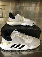 Adidas Men's Pro Bounce 2019 Low White Core Black Gold Basketball Shoes Size 14