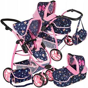 Large Doll's Pram Wheel Pushchair Dolls Pram Pushchair for Doll's Christmas Gift