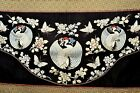 1900 s Chinese Silk Embroidery Crane Butterfly Flower Panel Tapestry Hanging