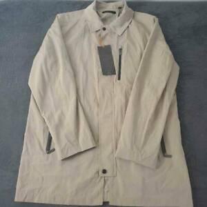 Tumi T-Tech Mens Packaway Windbreaker Rain Jacket Beige Pockets Zip Up L New