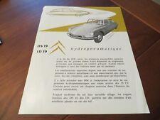 1956 Brochure Citroen DS 19, Citroen ID 19 Hydropneumatique, French text