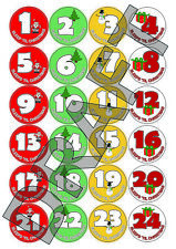 Christmas Countdown Advent Calendar Stickers - Xmas Craft Labels Sleeps Counter