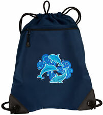 DOLPHINS Lover Drawstring Bag Backpack MESH & MICROFIBER Draw String BAGS Backpa