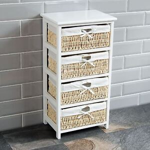 Maize Baskets Unit White 4 Drawer Storage Cabinet Organiser New By Home Discount