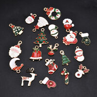 20Pcs Mini Enamel Alloy Mixed Christmas Charms Pendants Jewelry DIY Craft Making