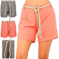 Ladies Belted Roll Up Womens Hot Pants Casual Summer Fashion New Linen Shorts
