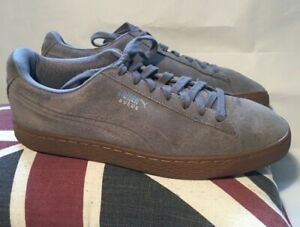Puma Suede Gum Sole Grey Trainers Sneakers Low Tops Shoes Size UK 9 EU 43