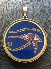 "Eye of Horus 1 5/8"" Pendant Lapis Gemstone Necklace Sterling Silver Frame #gift"