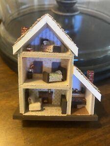 Micro Miniature Dollhouse And Furniture. Dollhouse For Dollhouse. Ooak. 1/144
