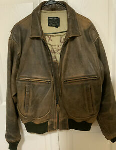 Vintage Avirex G2 Navy Distressed Leather Bomber Jacket, Men's Small