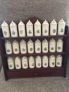 Lenox Spice Garden 24 Spice Jar Set With Wood Display Shelf Rack - 1992