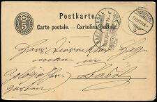 Switzerland 1879, 5c Stationery Card Rorschach-Basel #C19096