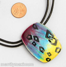 Chico's Signed Necklace Silver Tone Oblong Turquoise Pink Yellow Enamel Pendant