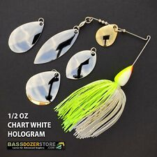 Bassdozer spinnerbaits BLADE KIT 1/2 oz CHART WHITE HOLOGRAM spinner bait baits