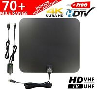 70+ Mile Indoor VHF/UHF 4K/1080P HD Digital TV Antenna w/Amplified Booster
