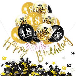 18. Geburtstag Party Feier Deko Set - Ballons + Girlande + Konfetti Gold Schwarz