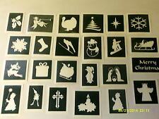 100 x Christmas theme stencils for glitter tattoos / airbrush / cake santa X-Mas