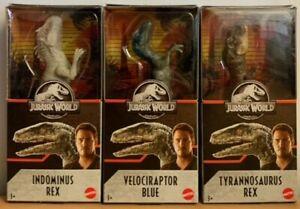 """Jurassic World Dino Rivals  - Indominus Rex, T-Rex and Velociraptor Blue 6"""""""